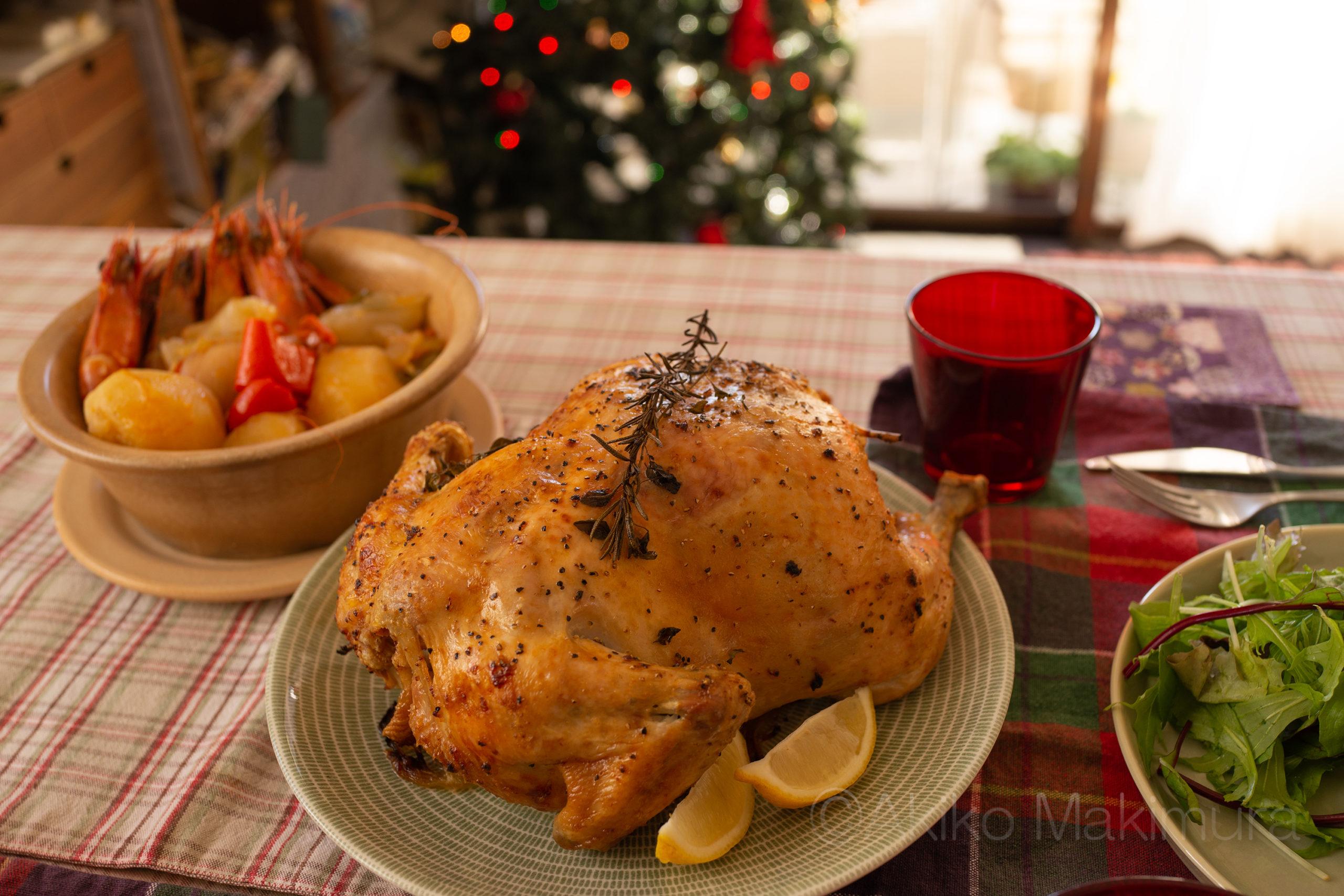 クリスマスの丸焼きチキン