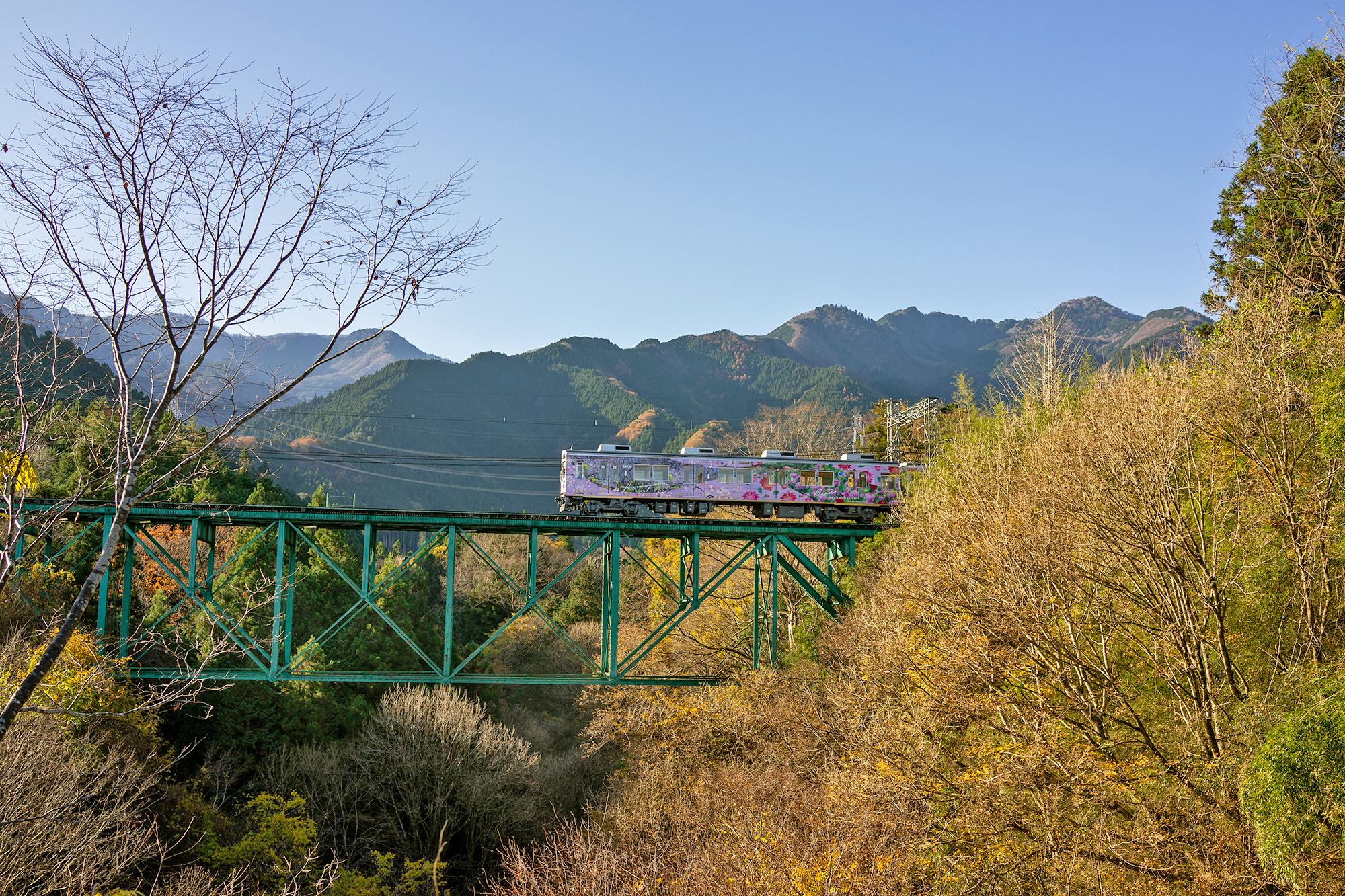 埼玉県秩父市の安谷川(あんやがわ)に架かる秩父鉄道の安谷川橋梁