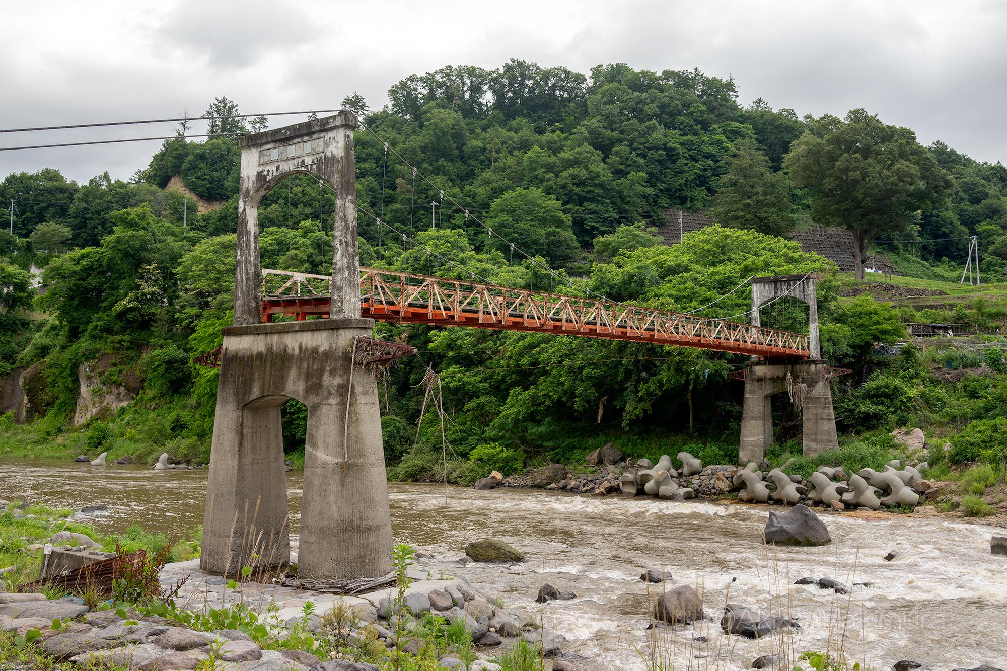 千曲川に架かる一部流出の吊り橋 大杭橋を訪ねて